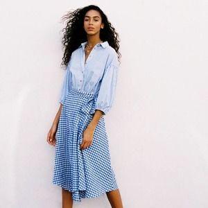 [Anthropologie] Glenna Gingham Midi Wrap Skirt